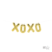 Gold XOXO 16in. Foil Balloon Script Banner Pk 1 (Air Inflation Only)