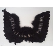 Black Feather Wings with Silver Tinsel (50cm x 35cm) Pk 1