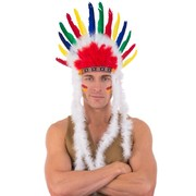 Indian Headdress with White Boa on Sides Pk 1