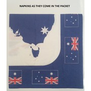 Aussie Map & Flags Australia Day Lunch Napkins Pk 20