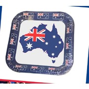 Australia Day 23cm Square Paper Plates Aussie Map & Flags Pk 8