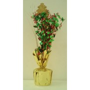 Gold Christmas Tree Centrepiece Weight and Pick with Holly & Berries Pk 1