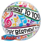Happy Birthday To You Music Notes 22in. Bubble Balloon Pk 1