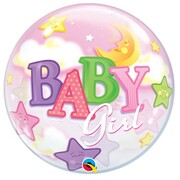 Baby Girl Moon Stars Bubble Balloon 22in Pk 1