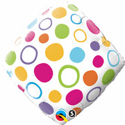 18in Foil Diamond Balloon Polka Dots Pk1