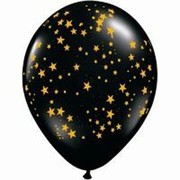 Onyx Black with Gold Stars Latex Balloons Pk 50
