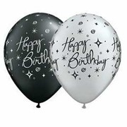 Assorted Silver, White & Black Birthday AOP Latex Balloons Pk 10