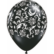 Damask Latex Party Balloons -  White Print on Black Pk10