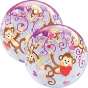 Monkey Love Hearts 22in. Bubble Balloon Pk 1 (1 BALLOON ONLY)
