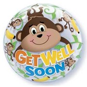 Get Well Soon Monkey Bubble Balloon 22in Pk 1