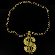 Party Necklace - Pimp Dollar Sign (Gold) Pk1