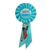 Happy Retirement Blue Rosette Badge / Award Ribbon Pk 1