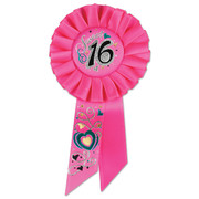 Sweet 16 Pink Rosette Badge / Award Ribbon Pk 1