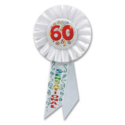 60 & Sensational White Rosette Badge / Award Ribbon Pk 1