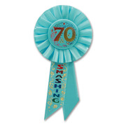 70 & Smashing Blue Rosette Badge / Award Ribbon Pk 1