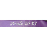 Bride To Be Purple Satin Sash Pk 1