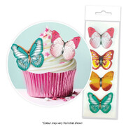 Assorted Butterflies Edible Cake Decorating Wafer Toppers Pk 16