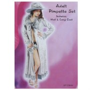 Adult Party Costume - Pimpette Silver Coat and Hat Pk1