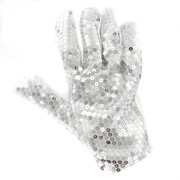 Glove White with Silver Sequins Pk1