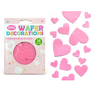 Pink Hearts Edible Wafer Cake Decorations Pk 36
