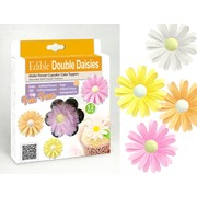 Double Daisies Edible Wafer Cake Decorations Pk 12