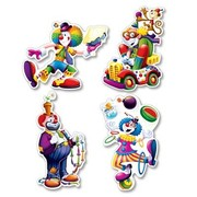 Circus Clown Cutouts (36cm) Pk 4 (Assorted Designs)