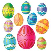 Assorted Size Easter Egg Cutouts Pk 10
