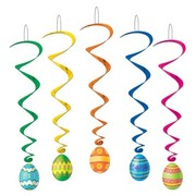 Easter Eggs Hanging Swirl Decorations (102cm) Pk 5