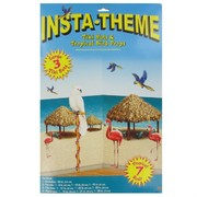 Decoration Tiki Hut & Tropical Bird Hawaiian Props Background Pk1