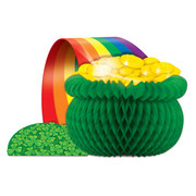 St Patricks Day Party Centrepiece - Honeycomb Irish Pot of Gold (32x19cm) Pk1