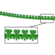 St Patricks Day Party Garland - Irish Shamrock Tissue Green 3.7m