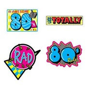 Awesome 80's Cutouts Pk 4 (Assorted Designs)