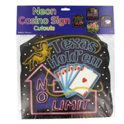 Casino Party Decoration - Neon Vegas Signs Cutout (41cm) Pk4 (Assorted Designs)