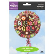 18in (45cm) Birthday Girl Owl Foil Balloon Pk1