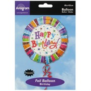 Balloon Foil 18in Radiant Happy Birthday Pk1
