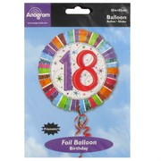 Balloon Foil 18in Radiant Birthday 18 Pk1