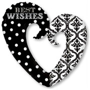 Damask Dots Heart Foil Supershape Balloon Pk 1