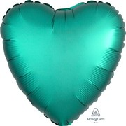 Satin Jade Green 17in. Heart Foil Balloon Pk 1