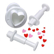 Cake Decorating Assorted Size Heart Plunger Cutter Pk 3