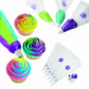 Three Icing Colour Swirl Decorating Kit (Coupler, Tips & Bags) Pk 9