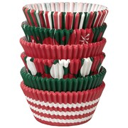 Christmas Holiday Red & Green Paper Baking Cups (Assorted Designs) Pk 150