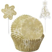 Gold Sparkle Christmas Cupcake Decorating Kit (24 Cases, 24 Picks)