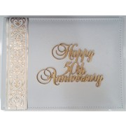 50th Anniversary White Leather Guest Book Pk 1