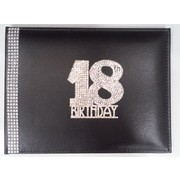 18th Birthday Black Leather Guest Book with Diamantes Pk 1
