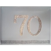 70th Birthday White Leather Guest Book with Diamantes Pk 1