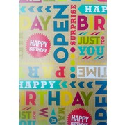 Kraft Birthday Gift Wrap (700mm x 495mm) Pk 1