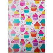 Cupcakes Gift Wrap (700mm x 495mm) Pk 1