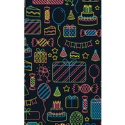 Gift Wrap Neon Birthday Icons 700mm x 495mm Pk 1