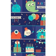 Gift Wrap Birthday Boy Monsters 700mm x 495mm Pk 1