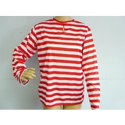 Child Red & White Stripe Long Sleeve T-Shirt (Small) Pk 1